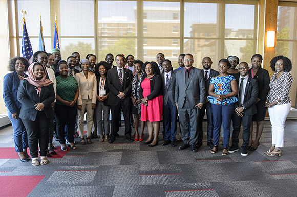 President Ian Khama and Mandela Washington Fellows