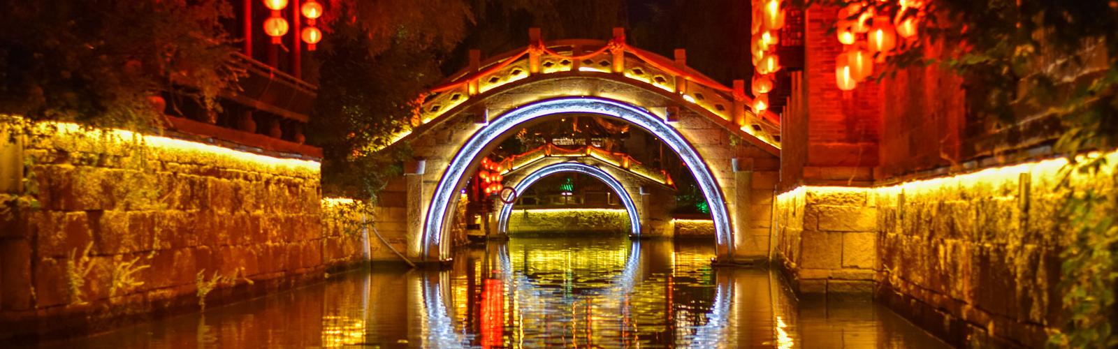 Illuminated bridge in China