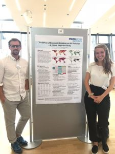 Perez (right) at a poster session in Aachen with her research mentor Morten Endrikat.