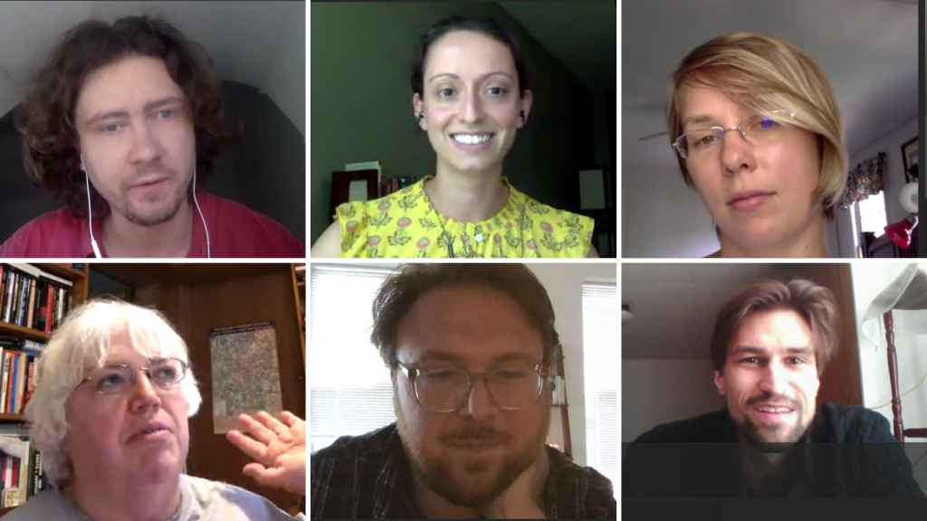 Workshop participants as shown on streaming site during virtual workshop