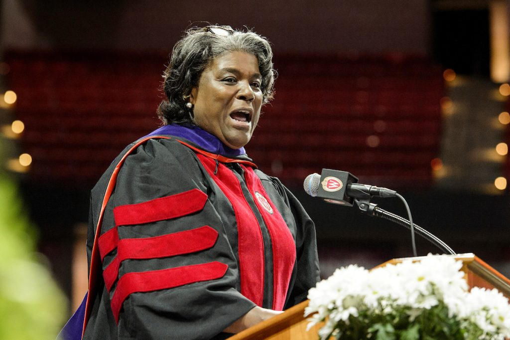 Linda Thomas-Greenfield in academic regalia at podium