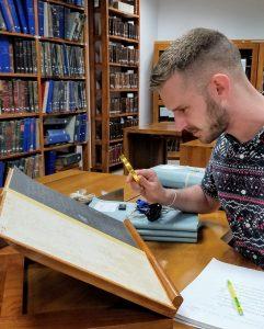 Tyler Lehrer at the National Archives in Sri Lanka