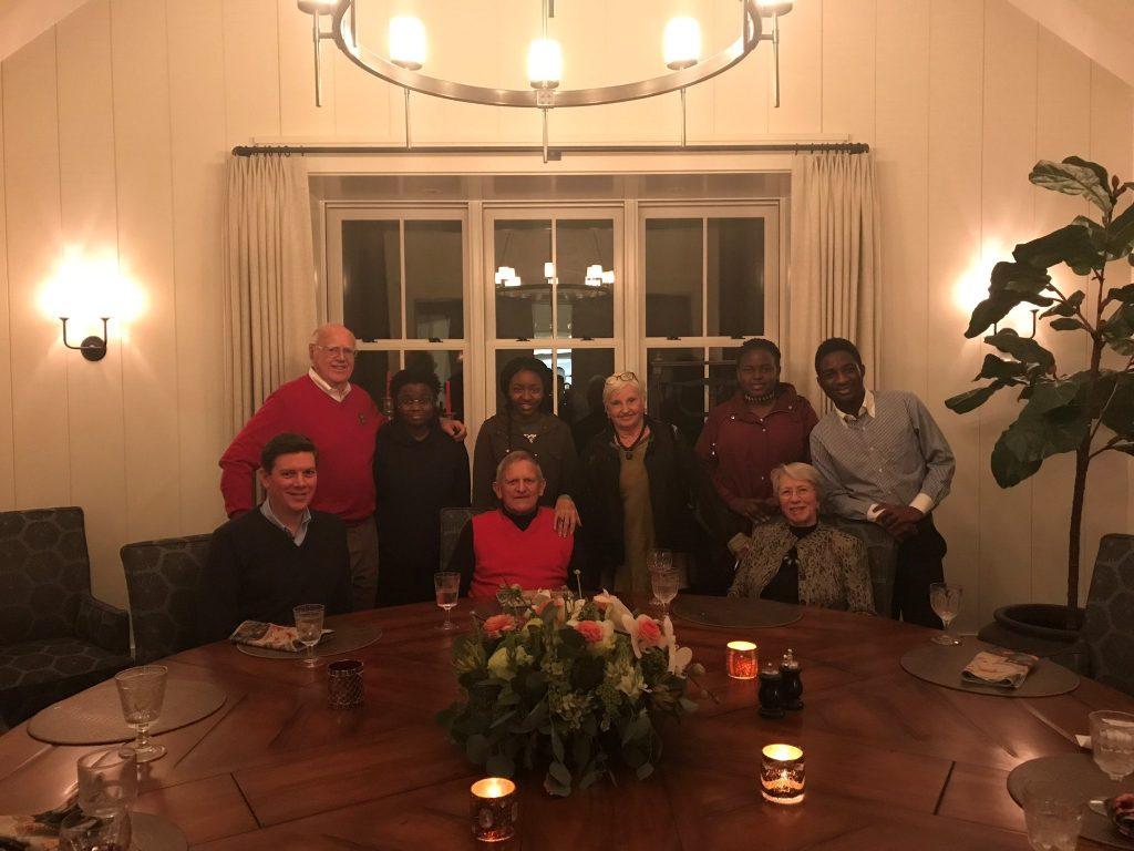 Dinner hosted by the Kings with the Morgridges and Scholars. Left to Right: seated, Jason Jonely, John Morgridge, Tashia Morgridge; standing, Bob King, Teckler Muvuti, Miranda Tichareva, Dottie King, Cheryl Mulor, and Lusayo Makatika. January 2018.